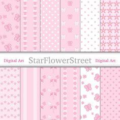 Pink Butterfly Digital Paper Patterns - soft baby pink white polka dot stripe daisy flower papers girls scrapbook instant download StarFlowerStreetDA on Etsy: (3.50 USD)