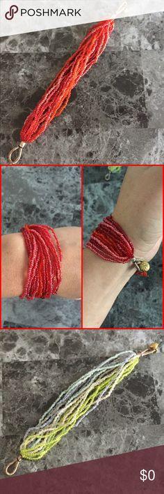 Beaded Bracelet Multilayered bracelet with mini beds in multiple tones. Both bracelets are 7.5in long. Jewelry Bracelets