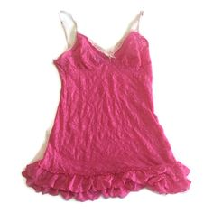 Victoria Secret Pink Lace  Babydoll Nightie Lingerie Size Large L Key On Bow #VictoriasSecret