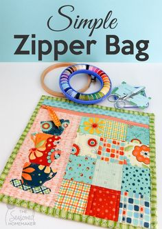 I love to sew simple projects. If you're a sewing beginner looking for an easy sewing idea or you just want to sew something using your scraps, you'll love this Simple Zipper Bag pattern. It's fast and even has a little quilting. A perfect simple sewing project for the sewing beginner.