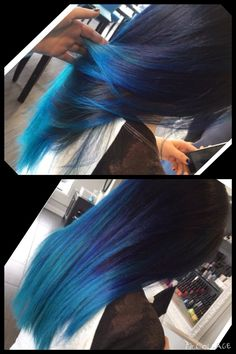 Blue hair, blue ombre, fun hair, bright hair, shades of blue, balayage highlights, dark root light ends dark blue-light blue hair