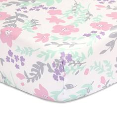 product image for The Peanut Shell® Floral Fitted Crib Sheet in Pink