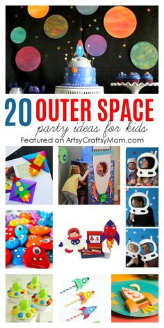 20 Fabulous Outer Space Birthday Party Ideas For Kids - Artsy Craftsy Mom - - 20 Fabulous Outer Space Party Ideas For Kids - From space party games, space party decorations, Printables, Gift Ideas, and Space themed Invites. Birthday Activities, Party Activities, Party Games, Space Activities, Summer Activities, Kids Party Themes, Birthday Party Themes, Party Ideas, Gift Ideas