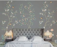 Removable wallpaper has become a new norm for wall treatments, bringing the high-impact of patterned walls to the ease and convenience of peel-and-stick Chinoiserie Wallpaper, Fabric Wallpaper, Storm Wallpaper, Chinoiserie Chic, Removable Wall Murals, House On A Hill, Wall Treatments, Timeless Design, Houses