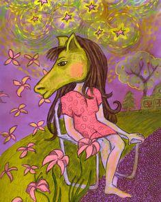 Black Friday Etsy - Art Print - Whimsical Folk - Horse Headed Lady - 8 x 10 - Purple Yellow Pink