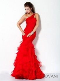 50e1da958415 One shoulder draped chiffon with ruffles. Red Pleated One Shoulder Jovani  158934 Ruffled Mermaid Prom Dress Available in Sizes