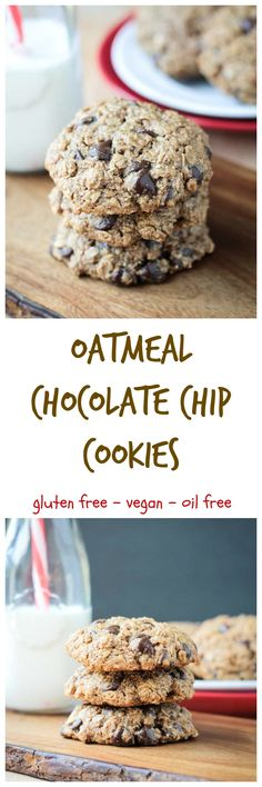 Vegan Oatmeal Chocolate Chip Cookies - vegan | gluten free | dairy free | egg free | quick and easy | kid approved | classic |
