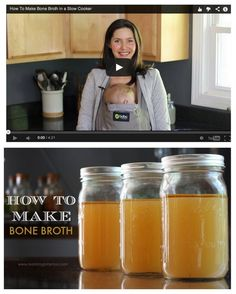 "Bone broth contains anti-aging components, ""spark plug"" minerals you need to function, and components needed for detoxification. Great video tutorial on a quick and easy way to make it. #food #diy #homemade #bonebroth #slowcooker"