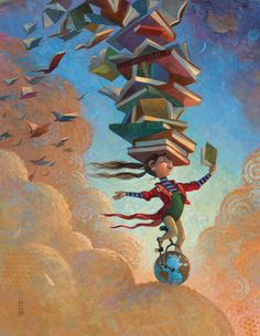 La tête dans les livres.   Mary GrandPre is a genius. I always love when books fly or make their pages into wings!
