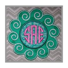 Stitchtopia Ocean Waves Applique Frame with Circle 3-Letter Monogram