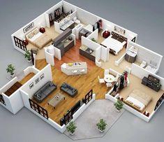 Marvelous Home Design Architectural Drawing Ideas. Spectacular Home Design Architectural Drawing Ideas. 3d House Plans, House Blueprints, Bungalow House Design, Tiny House Design, Home Design Plans, Plan Design, 3d Design, Design Ideas, Casas The Sims 4