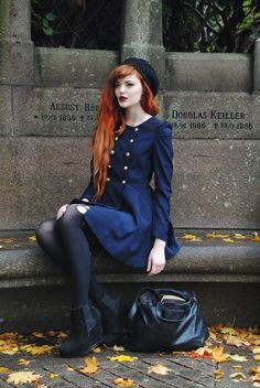 Cosette Munch - Second Hand Black Beret, Blue Coat Iwth Gold Buttons, Second Hand Pu Bag, Borrowed From My Roommate Standard Wedges - August