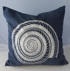 Sea-snail-Shell-White-Embroidery-Blue-Chenille-Cushion-Cover-45cm-Home-Decor