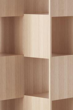 Fold wooden bookshelves by Nendo for Conde House Fold wooden bookshelves by Nendo for Conde House Modern Furniture, Furniture Design, Timber Furniture, Design Creation, Joinery Details, Regal Design, Space Saving Furniture, Shelf Design, Cabinet Furniture