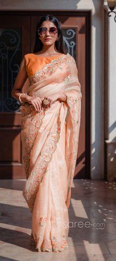 Half Saree Lehenga, Wedding Sari, Light Peach, Party Wear Sarees, Indian Sarees, How To Wear, Color, Design, Style