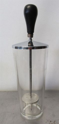 Ice Crusher Shaker Jar Clear Glass Vintage