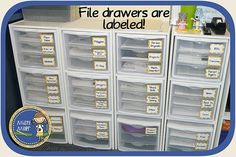 Drawers in cube shelving!