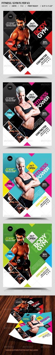 Fitness/Gym Business Promotion Flyer V2 — Photoshop PSD #corporate #body building flyer • Available here → https://graphicriver.net/item/fitnessgym-business-promotion-flyer-v2/4758614?ref=pxcr