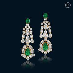 Hazoorilal Jewellers, Emerald Earrings, Diamond Jewellery, Jewellery Designs, Bling, India, Jewels, Diamond Jewelry, Jewel