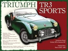 Triumph TR3 Classic British Sports Car Retro Vintage Old. For house, home, garage, man cave, petrol head or pub Small Metal/Steel Wall Sign