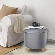 """17"""" Velvet Tufted Round Storage Ottoman Footstool Rest Seat with Removable Lid, Gray - image 3 of 7 Round Storage Ottoman, Tufted Storage Ottoman, Dining Sofa, Ottoman Footstool, Book Organization, Extra Seating, Foot Rest, Living Area, Solid Wood"""
