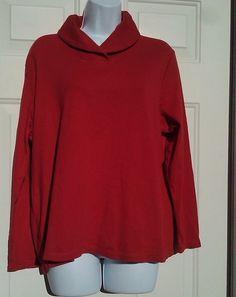CHAPS Ralph Lauren Womens Cotton Knit Shirt Shawl Collar TOP Plus Size 2X LS