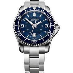 2b27fa2b92b Victorinox Swiss Army Maverick Blue Dial Silver Bracelet Watch 241602 Swiss  Made Watches