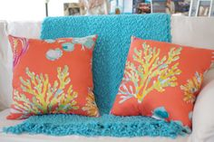 Orange Watercolor Coral and Sea Life Pillow  by ByTheSeashoreDecor, $39.00