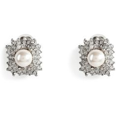 R.J.GRAZIANO Silver-Toned Crystal And Pearl Bead Clip Earrings ($95) ❤ liked on Polyvore