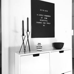 (@vee.zel ) on Instagram: Scandi | Nordic | Black and white | Spring decor | Modern | Minimal | Entryway | Home decor | Kähler Omaggio | Ikea | Letter board |