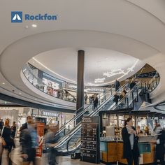 Rockfon aims to make spaces sound as beautiful as they look. At Tripla in Finland, the shoppers have the benefit of Rockfon® Mono® Acoustic® ceiling. It turns the noise volume down and creates welcoming spaces that make shoppers comfortable while they shop. Sourced from natural stone, Rockfon products have high sound absorption values and contribute to a healthy environment along with a variety of customised designs. #acousticdesign #shopping #interiordesign #retail #design #rockfon… Ceiling Design, Wall Design, Acoustic Design, Space Sounds, Sound Absorption, Healthy Environment, Visual Comfort, Retail Shop, Retail Design
