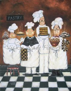Impresión del arte cuatro cocineros chef gordo pinturas arte