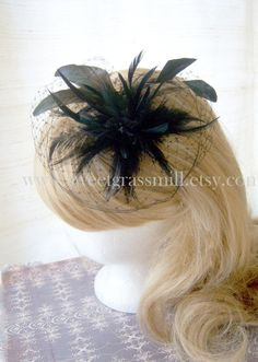 """Black Feather Cocktail """"hat"""""""