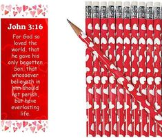 John Red Hearts Valentine's Day Bookmarks With Heart Pencils Pieces) Now available on our store John Red Hea… Check it out here! John 3 16, Valentines Day Party, Valentine Day Crafts, Christmas Bags, Christmas Angels, Valentine's Day Events, Johannes 3, Candy Corn Crafts, Happy Birthday Jesus