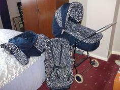 Silvercross Pram Carrycot Pushchair blue & white hood shopping tray spare cover