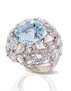 One-of-a-kind Pomellato Pom Pom collection aquamarine ring surrounded by different cuts of diamonds. Aquamarine Jewelry, Diamond Jewelry, Jewelry Rings, Jewelery, Jewelry Accessories, Fine Jewelry, Jewelry Box, Pomellato, Cocktail Rings