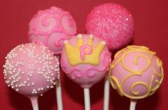 Birthday Princess Cake Pops (replace yellow accents with white)