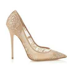 JIMMY CHOO Anouk nude lace pointy toe pumps found on Nudevotion