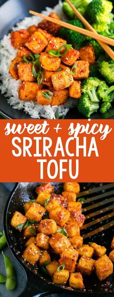 Sweet and Spicy Sriracha Tofu is fiery, flavorful, and totally vegan too! Skip the takeout and Sriracha it up at home!This Sweet and Spicy Sriracha Tofu is fiery, flavorful, and totally vegan too! Skip the takeout and Sriracha it up at home! Quick Vegetarian Meals, Healthy Recipes, Vegan Dinners, Healthy Snacks, Cooking Recipes, Spicy Vegetarian Recipes, Vegetarian Lunch, Healthy Tofu Recipes, Lunch Recipes