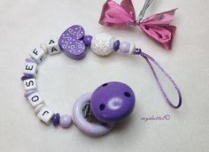 Schnullerkette Nuckelkette Nuckikette mit Wunschname von myduttel