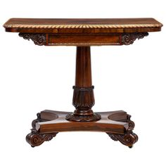 19th Century William IV Carved Rosewood Card Table | From a unique collection of antique and modern tables at http://www.1stdibs.com/furniture/tables/tables/