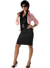 """""""Grease"""" Rizzo Costume consists of a halterneck dress and jacket with Pink Ladies logo. Express and standard shipping delivery options available at Irelands online fancy dress store. Grease Halloween Costumes, Movie Costumes, Adult Costumes, Costumes For Women, 1960s Costumes, Friend Costumes, Party Costumes, Woman Costumes, Couple Costumes"""