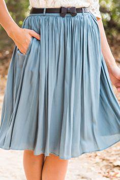Corinne Blue Bow Midi Skirt