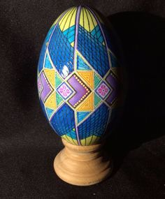 Batik Style Egg Pysanky Pisanki GOOSE Egg Abstract Fish Triangle Design | eBay