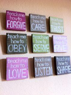 Inspirational Art- Christian Art - SET of 9 - Teach Me Wood Blocks - Pink, Green, Nursery Art, Girls Room, Wall Art, Home Decor, Gift. $126.00, via Etsy.