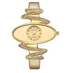 Ladies Fashion Quartz Watch AFFUTE for Women Rhinestone Wristwatch Leather Casual Dress Watches Gold reloje mujer montre femme - amazingbigdiscounts Mode Man, Rhinestone Jewelry, Watches For Men, Women's Watches, Ladies Watches, Cheap Watches, Luxury Watches, Gold Leather, Quartz Watch