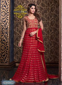 Refreshing Red Coloured Semi-Stitched Anarkali Suit