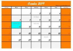 Five October 2019 Calendar with Holidays USA, Welcome back to our website. On this occasion we will provide a calendar design or template in October 2019 with a holiday in the USA. October Calendar Printable, Category 5, Halloween Celebration, Calendar Design, Problem Solving, Bar Chart, Printables, Social Media