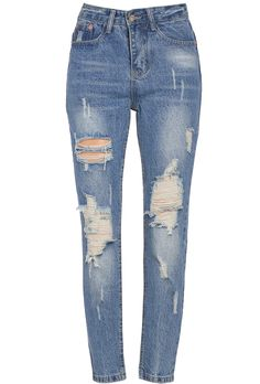 Light Blue Denim Hollow Pant - Sheinside.com