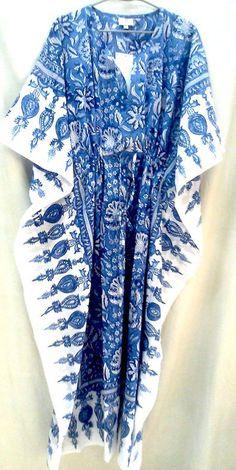 Boho Chic Blue & White Chinoiserie Floral Anokhi Hand block print Long Cotton Kaftan One Size